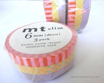 Mt Slim Washi Masking Tape Deco A Set of 3 Rolls 6mm x 10m
