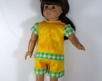 DC Sunshine Yellow Shorts & Top Set, Trimmed with Green and Yellow Plaid - 18 Inch Doll Clothes fits American Girl Dolls