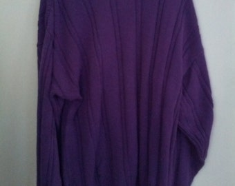vintage grunge 80s 90s mens jumper purple sweater Architect L men boho punk paninaro