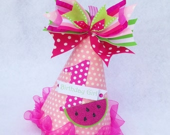 Watermelon Birthday Party Hat in Hot Pink Light Pink and Bright Green