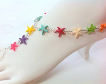 Starfish beachy barefoot sandals tropical island foot jewelry stretch cruise sandles foot thong jewellery summer anklet jewelry