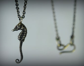 Itty Bitty Silver Seahorse Necklace - Very Small Unique Pendant Cast From Real Seahorse In Sterling Silver