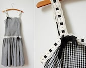 Minx Modes Gingham Dress/50's Cotton Gingham Sundress/Black and White Checked