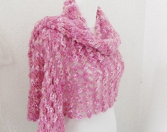 Bridal Shawl, Wedding Shawl, Pink scarf, cherry blossom, crochet Shawl, Rectiangle Shawl, OOAK