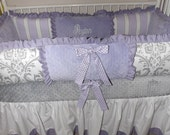 Girl Crib set Lavendar, Lilac and Gray damask Baby bedding  DEPOSIT ONLY