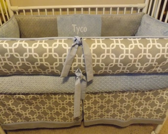 Baby bedding boy Crib set with Light blue and Gray Chevron DEPOSIT