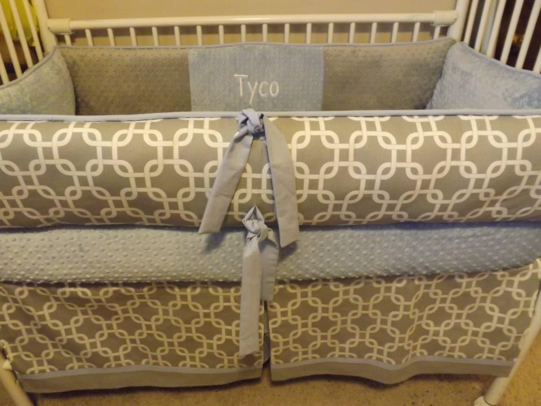 Baby bedding boy crib sets with light baby blue and gray - Light blue and gray bedding ...