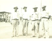 Happy Working Men Standing on Road Street in Hats Construction Vintage Black White Photo Photograph