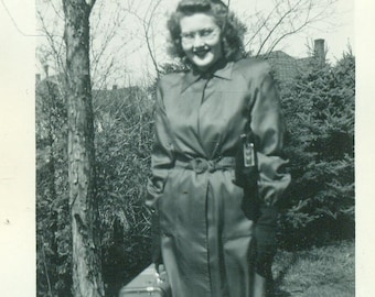 Ready to Travel Young Woman Holding Suitcase Purse Coat 1940s Vintage Black and White Photo Photograph