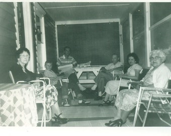 It's a PartySchroeder's Front Porch in Andover 1958 Vintage Photo Black and White Photograph