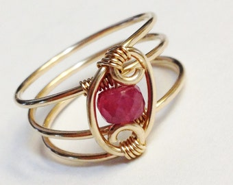 Sapphire Ring    Pink Sapphire Ring   14K Gold Filled Ring   Sapphire Jewelry