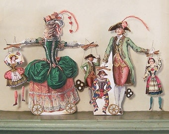 Digital Marie Antoinette Articulated Paper Doll Decoration INSTANT Download - French Puppeteers With Puppets Papercrafts MA20M