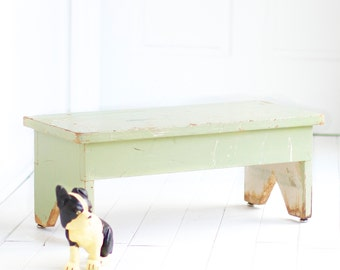 Vintage Painted Farm Work Bench, Chippy Minty Green