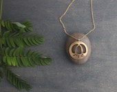 Asian Lantern Flower 14 Karat Gold Fill Graphic Minimalist Ethnic Nature Woodland Contemporary Circle Pendant with Thin Gold Chain