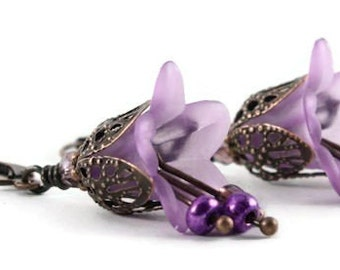 Purple lily flower and antique copper leverback earrings - ready to ship (165) - Flat rate shipping