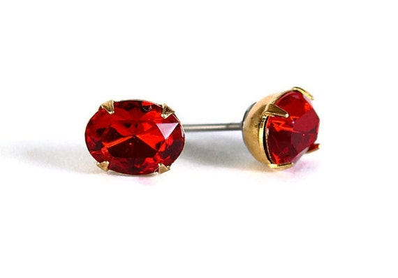 Estate style garnet red austrian crystal stud earrings READY to ship (313) - Flat rate shipping