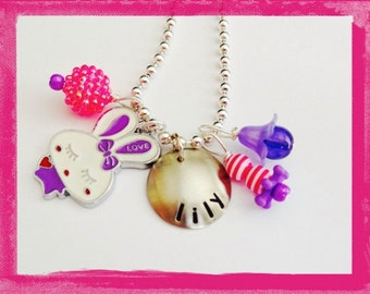 Personalized Easter Necklace  -  Hand Stamped  PURPLE BUNNY RABBIT Charm Necklace for Children -  What's in her Easter Basket?