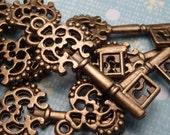 Bronze Key Charm 25mm - 4pc