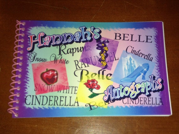 PERSONALIZED Disney Princess Autograph Book with 25 Blank Card
