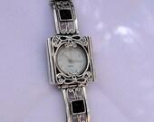 NEW Israel Original Handmade Fine Silver Filigree Onyx Bracelet Watch (s w3905)