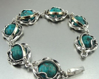 New Israel Handmade 9K Yellow Gold& 925 Sterling Silver turquoise stone bracelet (s b 2600)