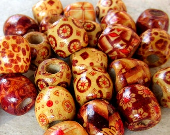 40, Patterened wooden beads, natural wood beads, diy jewelry makinging, assorted wood beads, 16mm x 15mm, large hole beads 610Y