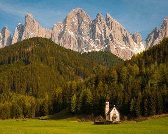 Dolomite Photograph Switzerland Photo Tyrolean Landscape Italy Photography Austrian Mountains Church Adige ita92