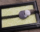Gray Fabric Rosette, Interchangeable Snap Accessory