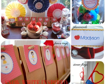 Snow White Inspired Birthday Party Package, DIY, Printable, CHOOSE 4