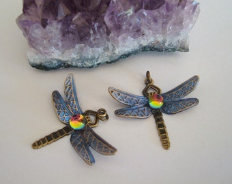 Dragonfly Jewelry Supply, Custom Handmade, Iridescent Glass Jewel and Wings, Use as a Necklace Pendant Or Earrings, Just Add Findings