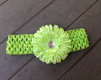Lime Green Flower Headband