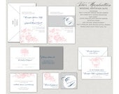 Romantic Wedding Invitations, custom invitations, Blush Wedding Invitations, Navy Blue, Gray and pink, belly band, monogram, roses