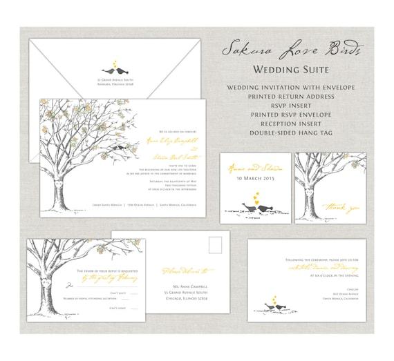 Love Birds Wedding Invitations, Sakura Cherry Blossom Wedding Invitation, Wedding Invites, Yellow and Gray, Romantic, Elegant, Gray