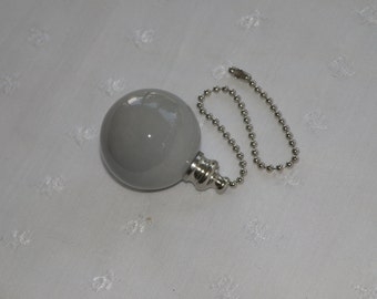 Gray - Pottery Ball Ceiling Fan/Light Pull - Handmade in the USA - Brass or Nickel Hardware