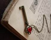 Beauty and the Beast Key Necklace - Rose and Key Necklace - Fairy Tale Necklace - Fairy Tale Key