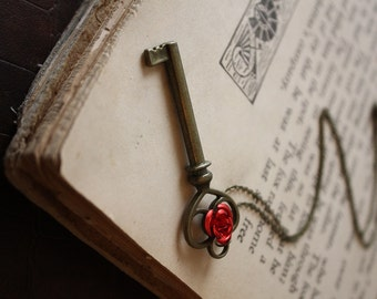 Beauty and the Beast Key Necklace Rose and Key Necklace Fairy Tale Necklace Belle Necklace