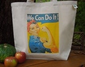 Natural cotton market tote - large canvas tote -  reusable shopping bag  -  Rosie the riveter - We can do it