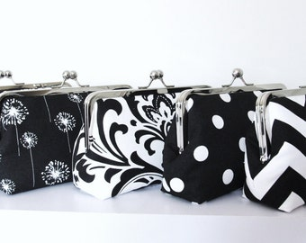 SALE,5 Premier Print Bridesmaid Clutches,Silk Lined Black And White Custom Bridesmaid Clutches,Bags And Purses,Bridal Accessories