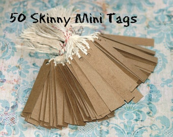"Skinny Mini Tags (50) ... 3.5"" x .5"" Lightweight Chipboard Tags Recycled Narrow Rustic Hang Tags Price Tags Product Tags Seller Supplies"