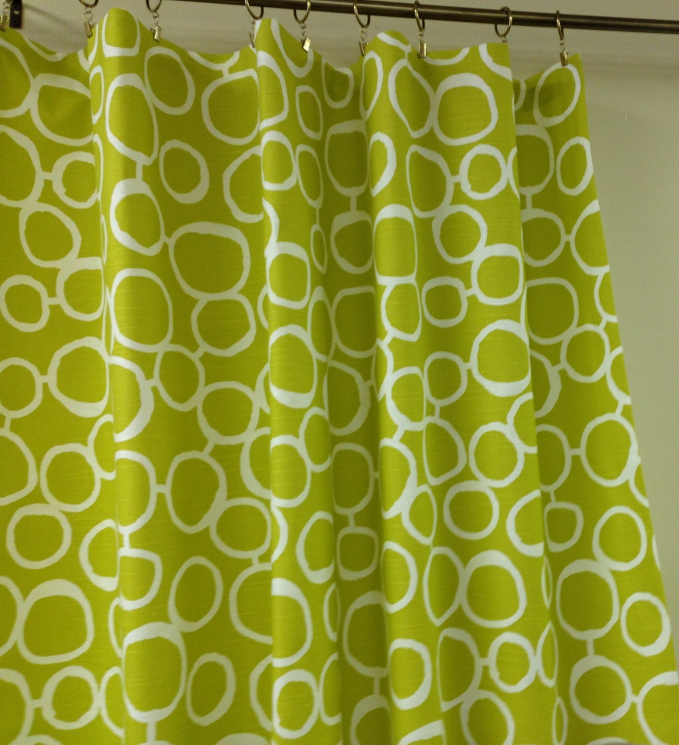 Fabric Shower Curtain Artist Green Citrine By Kirtamhomecollection