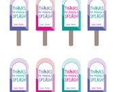 Popsicle Pool Party - Printable Thank You Tag/Labels - Child's name included - 3 colors included