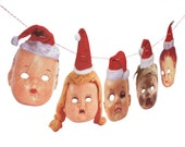 Creepy Vintage Doll Head Garland Christmas Decoration - Photo Reproductions on Felt