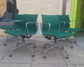 Vintage Mid Century Eames Aluminum Group Herman Miller Rolling Arm Chair w four Star Base in Green
