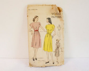Vintage 1940s Vogue One Piece Dress Pattern 5729 size 14