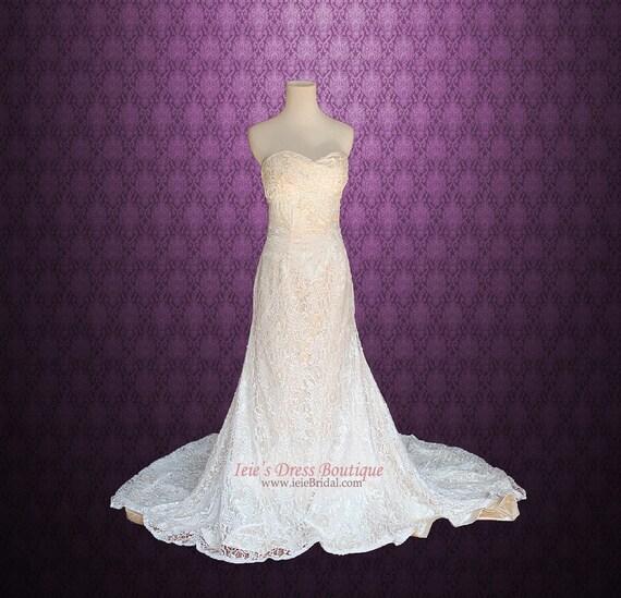 Vintage Lace Overlay Wedding Dress Lace Wedding Dress