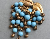 Massive Haskell Turquoise Art Glass Cascading Berry Brooch / Unsigned Haskell / Early Frank Hess