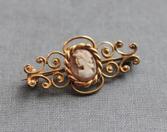 Antique Shell Cameo Brooch