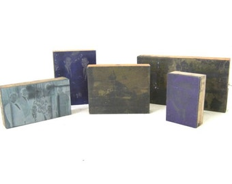 FIVE Tinted Metal and Wood Photo Printing Press Blocks