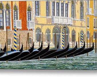Gondolas On The Grand Canal, Venice - Fine Art Print, Italy, Italian, Mediterranean, Architecture