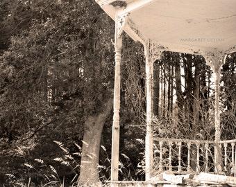 Front Porch - 8X10 Fine Art Photograph - sepia - monochromatic - farmhouse - wall art - home design